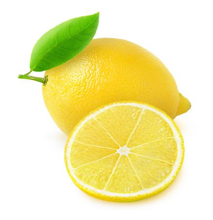 흰색에 고립 된 신선한 레몬