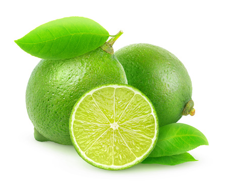 Fresh green lemons isolated on white Imagens