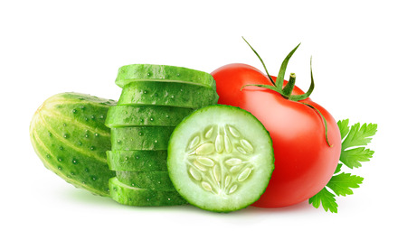 cucumber slice: Slices cucumber and tomato isolated on white