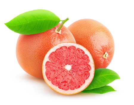 Pink grapefruits isolated on white