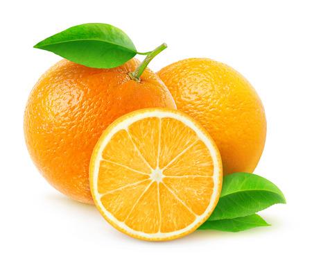 owoców: Świeżych pomarańczy samodzielnie na białym tle Zdjęcie Seryjne