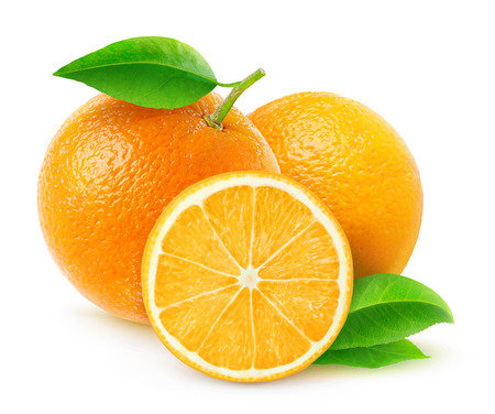 sliced fruit: Fresh oranges isolated on white