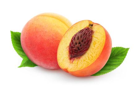 Twee verse perziken op wit wordt geïsoleerd Stockfoto