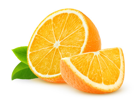 leaf: Cut oranges isolated on white
