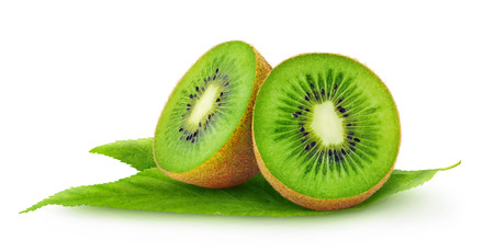 Cut kiwi fruits isolated on white Imagens