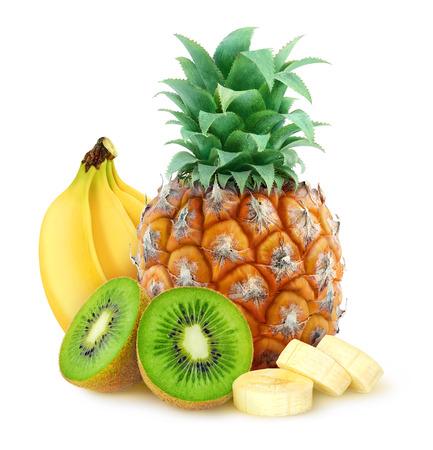 tropisch: Tropische Früchte Ananas Banane Kiwi über weißem Hintergrund mit Clipping-Pfad