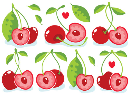 cereza: Cerezas en forma de corazón ilustración vectorial Vectores