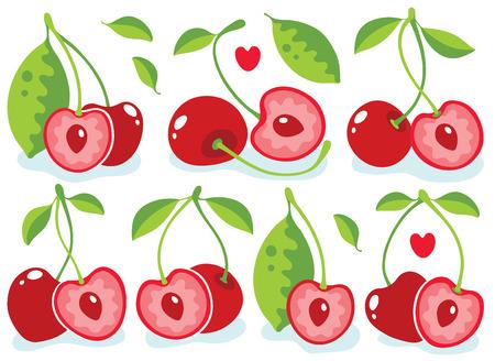 cherries: Heart-shaped cherries vector illustration