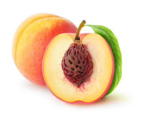 Fresh peaches cut and whole over white background, with clipping path Stock Photo