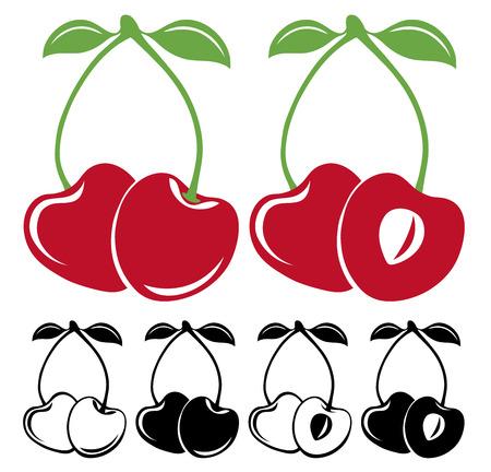 cherries isolated: Cherries  set