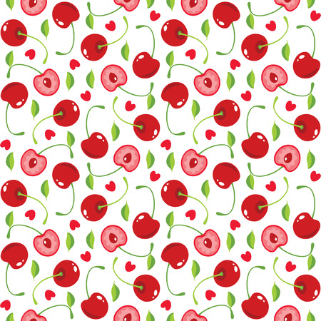 cherry pattern:  seamless pattern with cherries and hearts