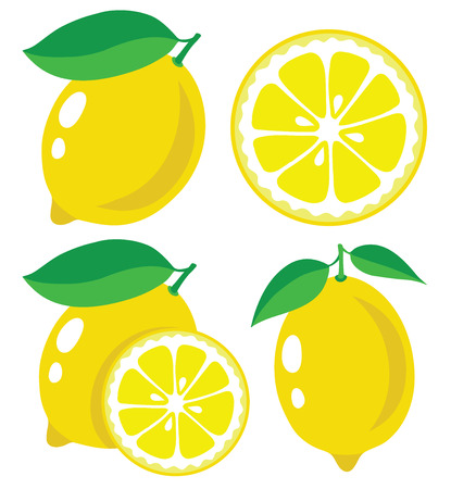 Fresh lemons, collection of  illustration 矢量图像