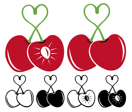 shaped: Heart shaped cherries  set Illustration
