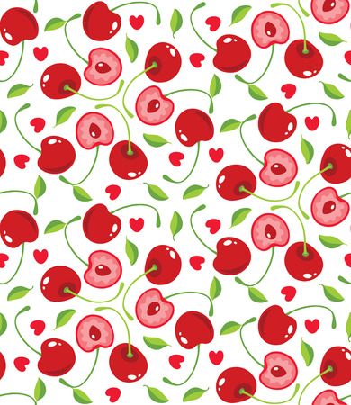 cherry varieties:  seamless background with sweet cherries and hearts