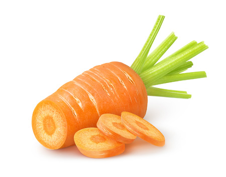 Fresh cut carrot over white background