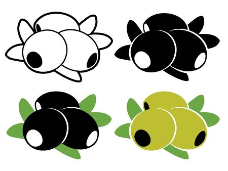 pitted: Vector olives in color and black and white
