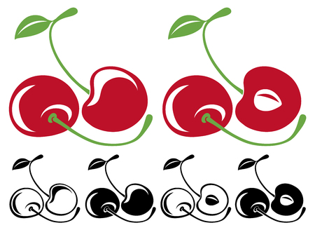 fruit stem: Vector cherries in color and black and white