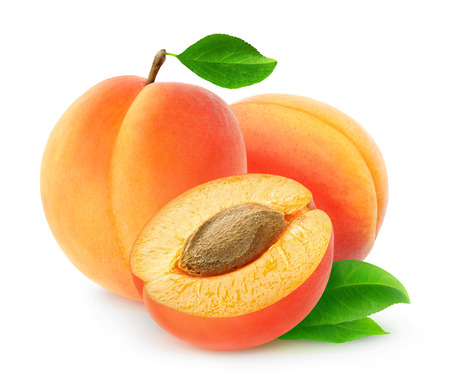Fresh apricots isolated on white background, with clipping path