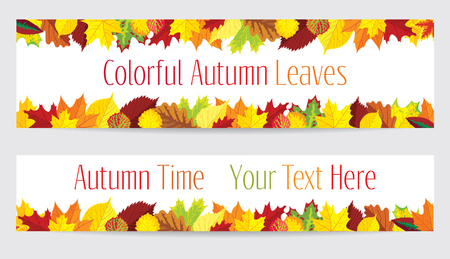 Two vector banners with colorful autumn leaves