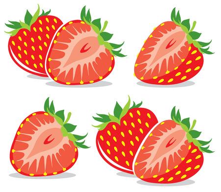 half: Vector strawberries collection