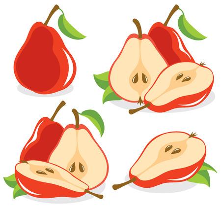 sliced fruit: Red pears vector illustration