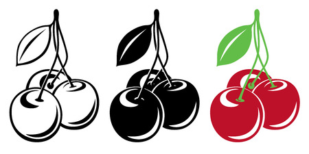 fruit stem: Three vector cherries in color and black and white Illustration