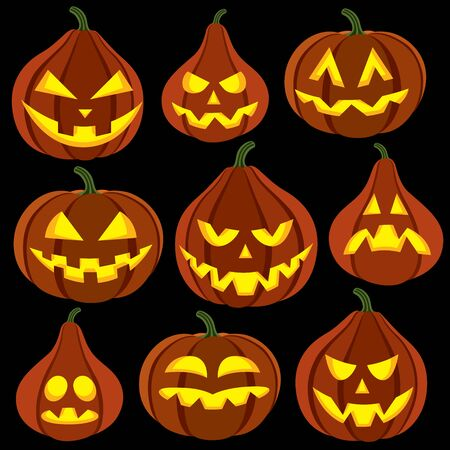 vector: Collection of nine halloween pumpkins with different expression over black background, vector illustration