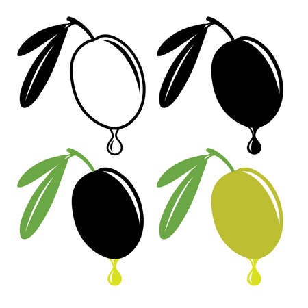 dripping: Vector olive with drop of oil in color and black and white