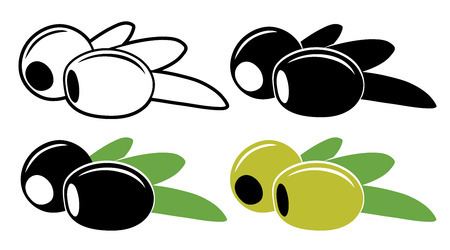 pitted: Pitted olives in color and black and white, vector illustration