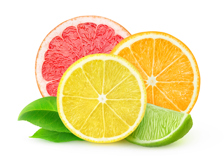 citruses: Slices of various citrus fruits isolated on white, with clipping path