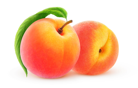 clipping path: Two whole peaches with leaf isolated on white background, with clipping path