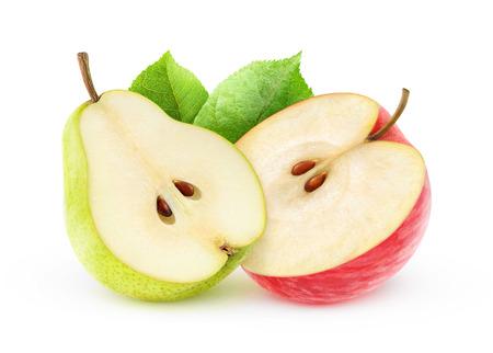 Manzana roja y pera amarillo aislado en blanco, con trazado de recorte