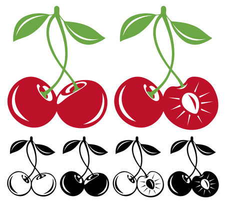 cereza: Dos cerezas vector en color y en blanco y negro