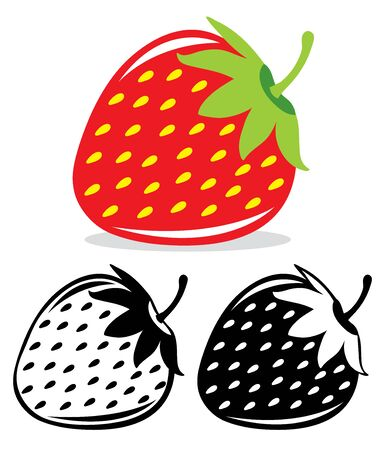 one color: One vector strawberry in color and black and white