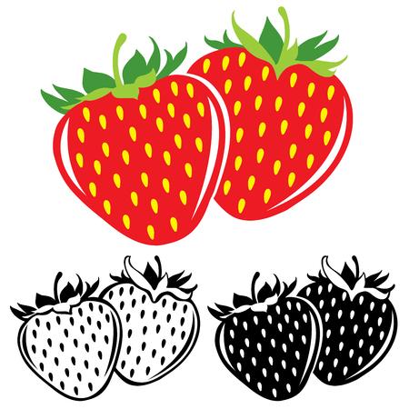 fresa: Fresas del vector en color y en blanco y negro