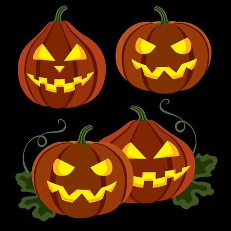 fun background: Two halloween pumpkins with leaves over black background, vector illustration