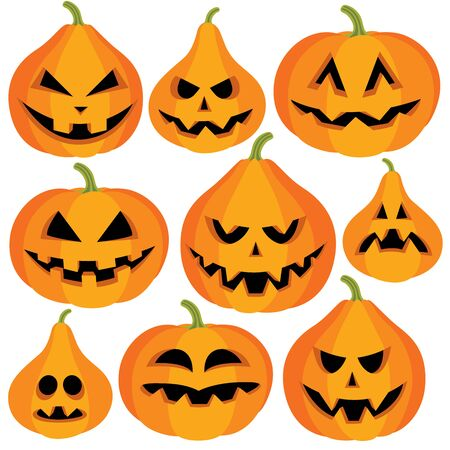 grimace: Collection of halloween pumpkins with different face expression on white background, vector illustration Illustration