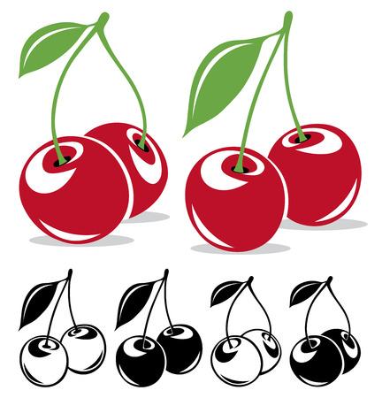 cereza: cerezas del vector en color y blanco y negro Vectores