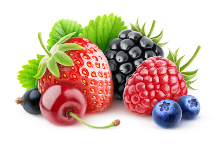 Various summer berries over white background with clipping path Stockfoto