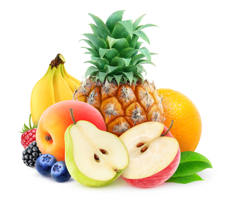 Pile of various fresh fruits over white background