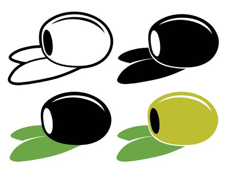 pitted: One vector pitted olive in color and black and white