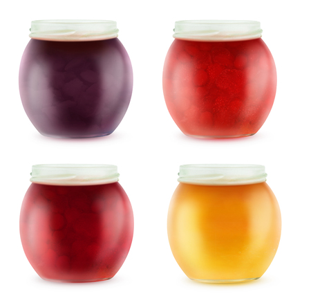 mermelada: Colección de tarros abiertos multicolores con mermelada de frutas, aislados en blanco con trazado de recorte
