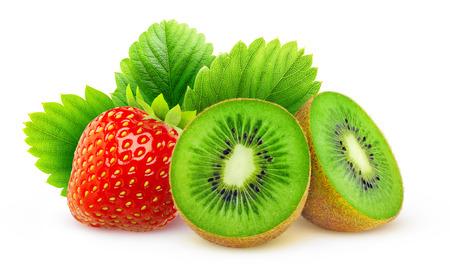 mix fruit: Kiwi and strawberry isolated on white background