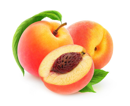Fresh peaches isolated on white background, with clipping path