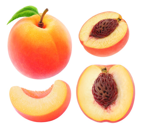 Collection of whole and cut peaches isolated on white with clipping path