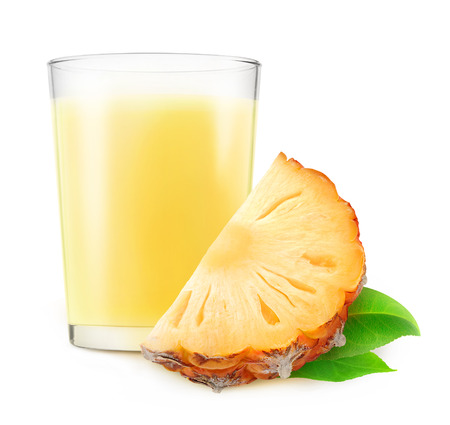 non alcoholic beverage: Glass of pineapple milkshake isolated on white background with clipping path