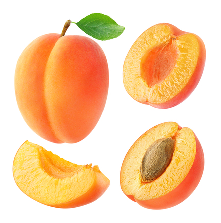 Collection of whole and cut apricots isolated on white with clipping path