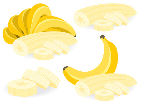 peeled: Peeled and sliced bananas, collection of vector illustrations Illustration