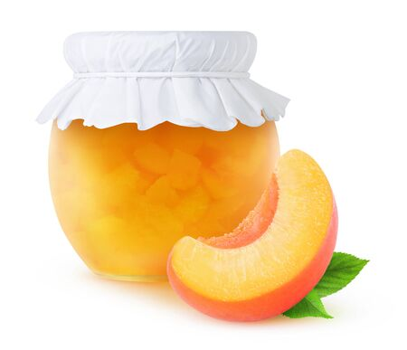 Peach jam in a glass jar isolated on white, with clipping path Stock Photo