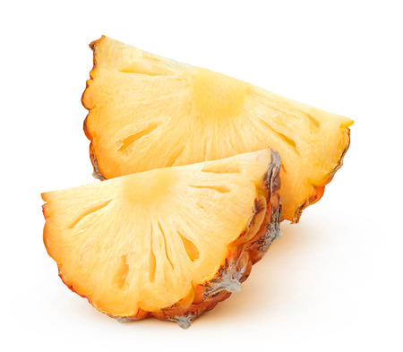chunks: Pineapple chunks isolated on white with clipping path